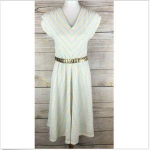 Vtg 70s Dress Pastel Chevron Stripe Knit A Line M